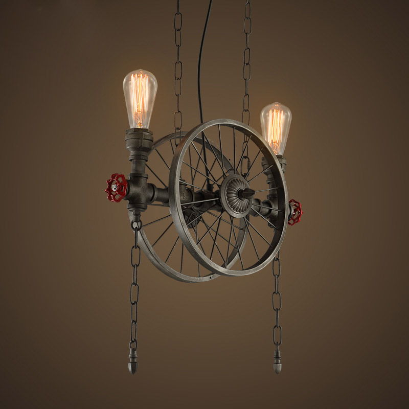 RH LOFT Metal Wheel Pendant Light Vintage Industrial Lighting American Aisle hanging Lights Lamp 110V-220VRH LOFT Metal Wheel Pendant Light Vintage Industrial Lighting American Aisle hanging Lights Lamp 110V-220V