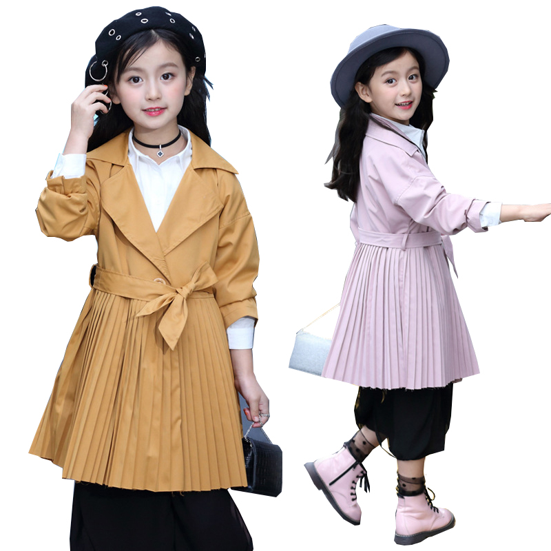 Girls Trench Coat Spring Autumn Children Windbreaker long Jackets for Girls Outerwear Coats Kids Coats Jacket Children Overcoat winter long wool trench coat men 2017 casual mens jackets coats slim fit men overcoat single breasted pea coat men trench coat