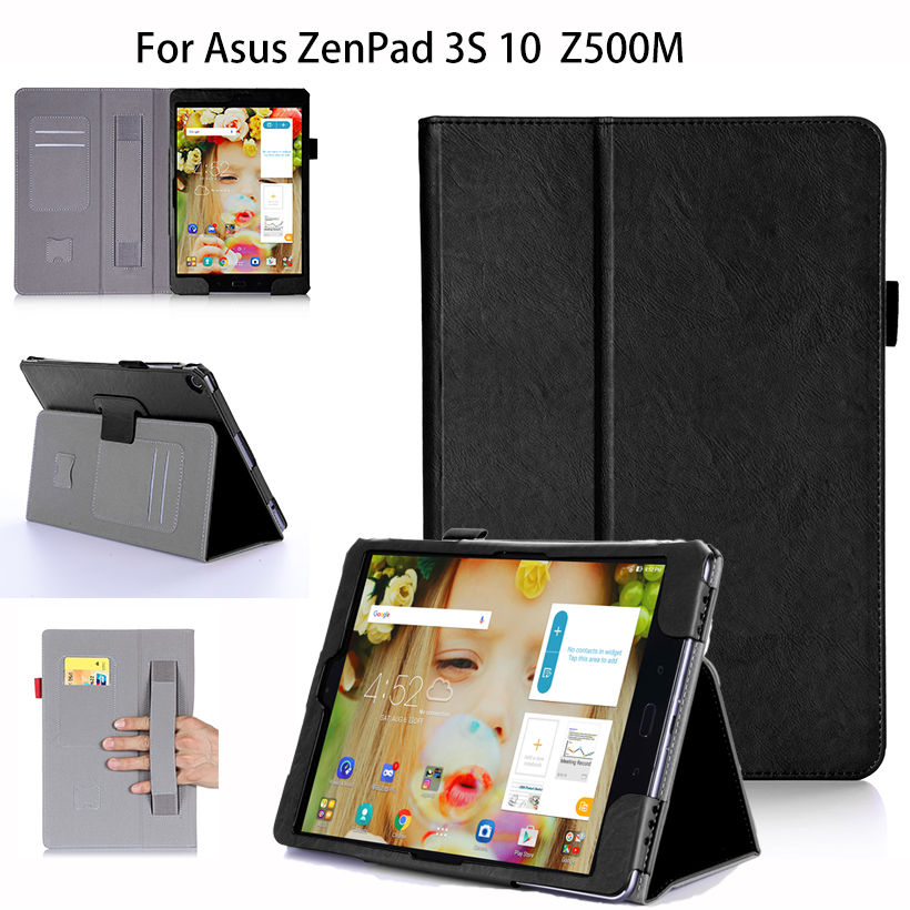 Luxury PU Leather Case For Asus Zenpad 3S 10 Z500M 9.7 inch Tablet Case Cover Funda WIth Hand Holder Stand Protective Shell Capa 3 in 1 luxury stand folding smart print pu leather cover for asus zenpad 3s 10 9 7 z500m tablet case free screen protector pen