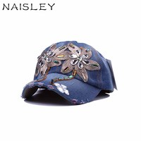 NAISLEY Fashion Hat Unisex Baseball Caps For Women Flowers Rhinestone Snapback Bone Hats For Men Vintage