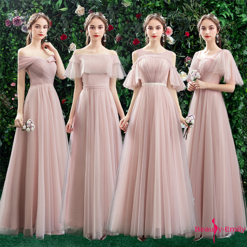Beauty Emily Boat Neck Tulle Bridesmaid Dresses Long 2019 New Chiffon Ruched Ceremony Party Dress Vestido De Dama De Honor