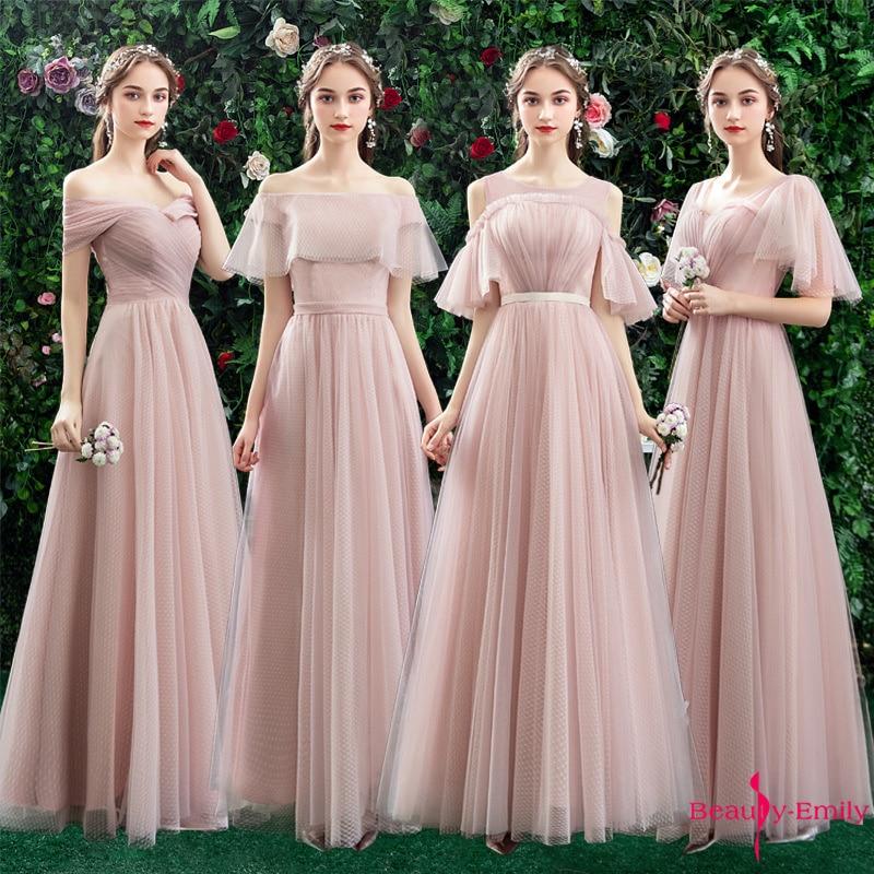 Beauty Emily Boat Neck Tulle Bridesmaid Dresses Long 2019 New Chiffon Ruched Ceremony Party Dress Vestido De Dama De Honor