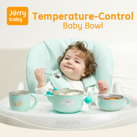 Jerrybaby Baby Feeding Bowl Stainless Steel Dish Warming Water Insulation Bowl Dinnerware Set W/ Spoon Suction Plate