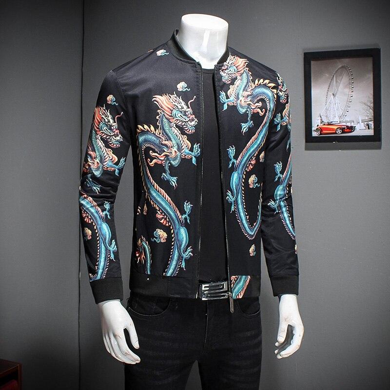 5a2dc2bc5 US $64.49  China Style Jacket Coat Men Nice Fashion Mens Bomber Jacket Male  Dragon Print Long Sleeve Casual Men Windbreaker Jacket-in Jackets from ...