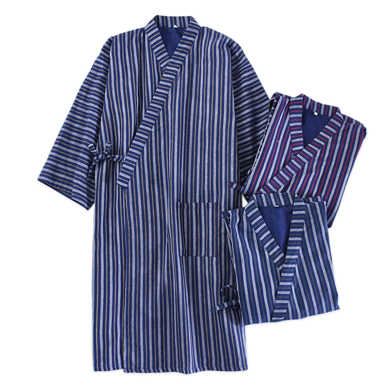 New Pure Cotton Kimono Robes Men 2019 Summer Simple Striated Male Bathrobes Long Sleeve SPA Casual Robes Japanese Robes For Men