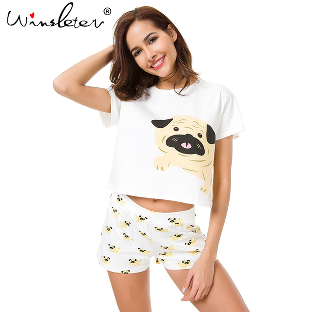 Cute Dog Pajama Set Women Pug Print 2 Pieces Set Crop Top + Shorts Elastic  Waist Pajamas Loose Home Wear Lounge pyjamas S6801 2ba3c149b