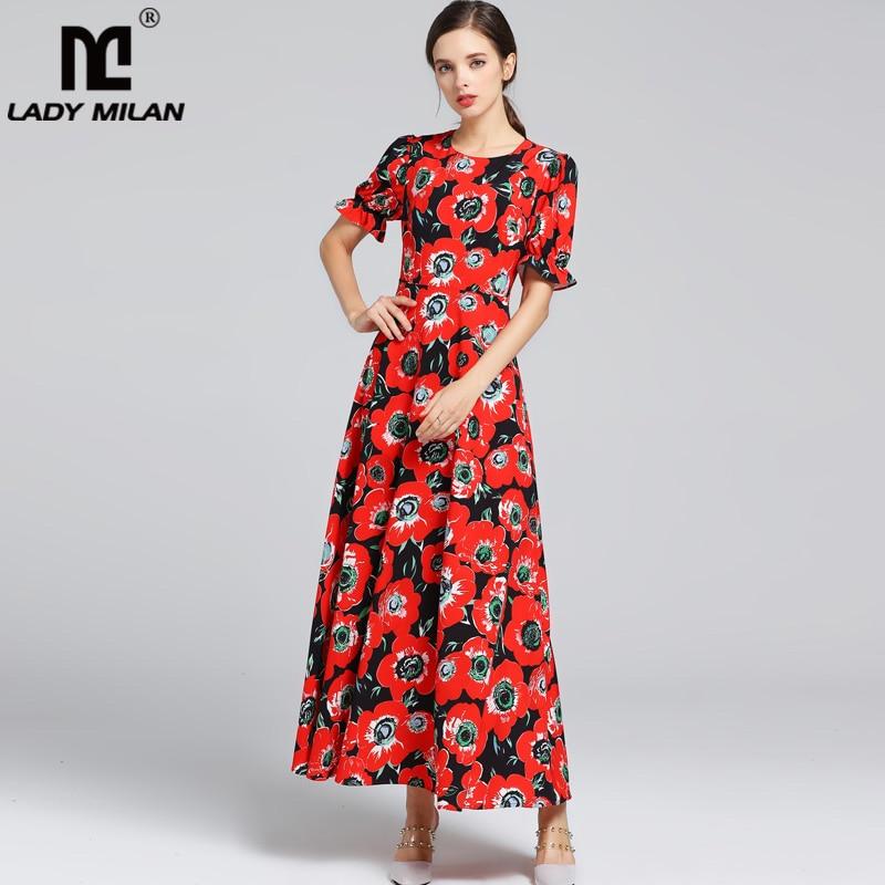 레이디 밀라노 새로운 도착 2019 여성의 목에 짧은 소매 꽃 인쇄 중반 송아지 하이 스트리트 패션 활주로 드레스-에서드레스부터 여성 의류 의  그룹 1