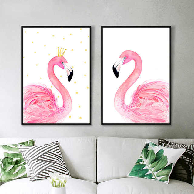 Nordic Decoration Cuadros Posters And Prints Wal Art Canvas Painting Pink Swan Wall Pictures For Living Room kids room