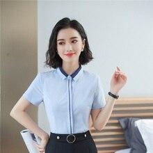 a65e94cf71b Verano moda elegante de gasa blusas y camisas para mujeres Oficina ropa de  trabajo Patchwork blusa Mujer Tops ropa uniforme esti.