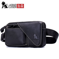 LASOSHIZI Fashion Genuine Leather Men's waist bag Funny Pack Belt Bag Men Chain Waist Bag For Phone Pouch belt Mobile Phone Bag