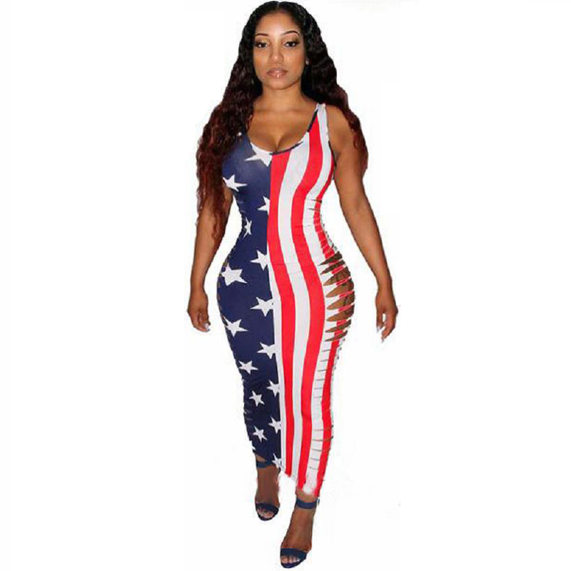 Dreszdi Fashion American Flag Print Women Maxi Dress Side Hollow Out Bodycon Bandage Dress Sexy Sleeveless Long Dress Summer