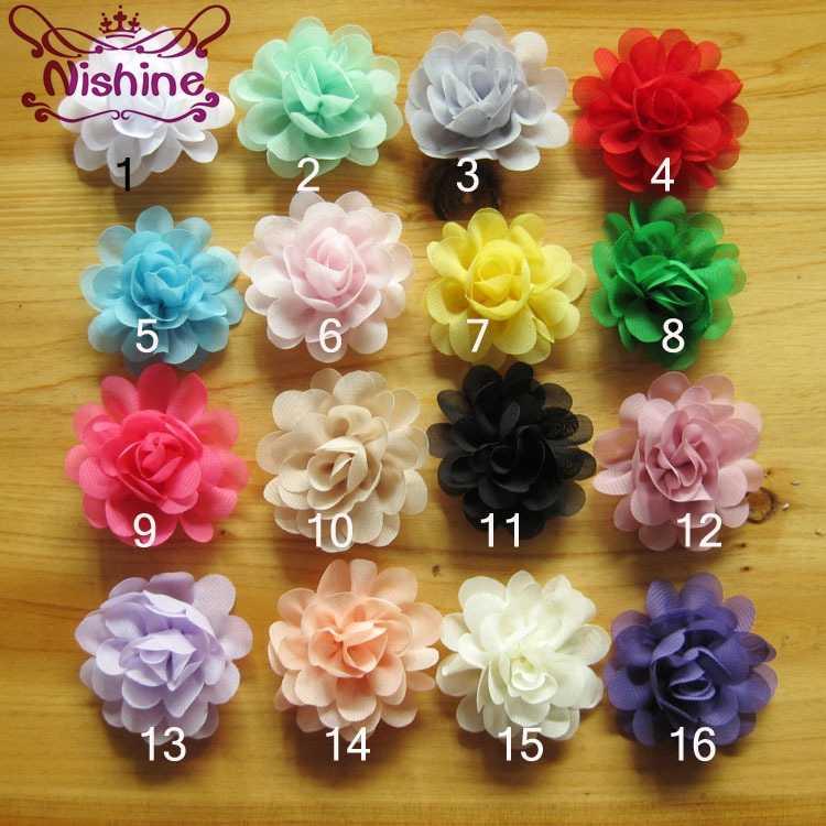 "Nishine 10 ชิ้น/ล็อต 2 ""Mini ชีฟองดอกไม้สำหรับเด็ก Headband คลิปผม Diy Headwear เด็กอุปกรณ์เสริมผมผ้า"
