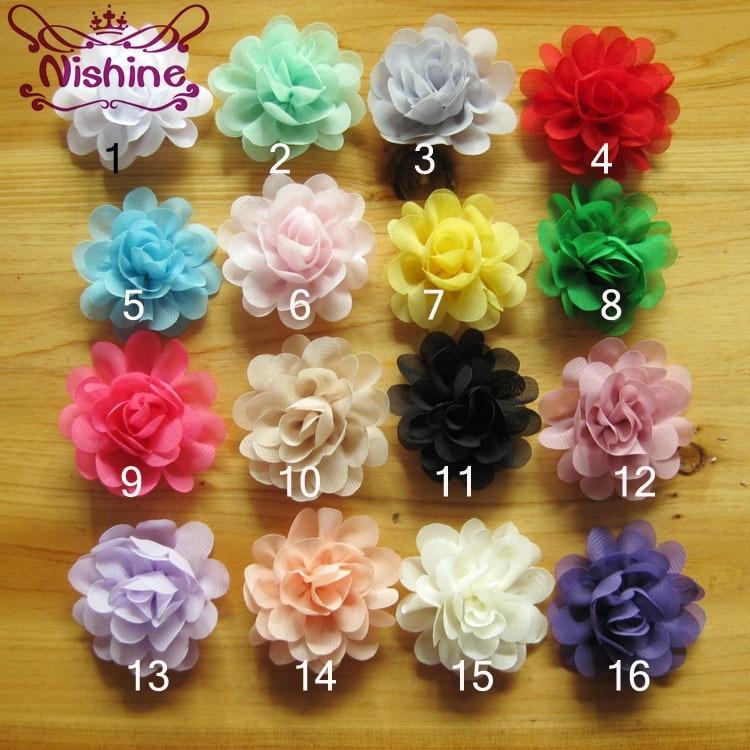 "Nishine 10pcs/lot 2"" Mini Chiffon Flowers For Children Headband Hair Clips Diy Headwear Kids Girls Cloth Hair Accessories"