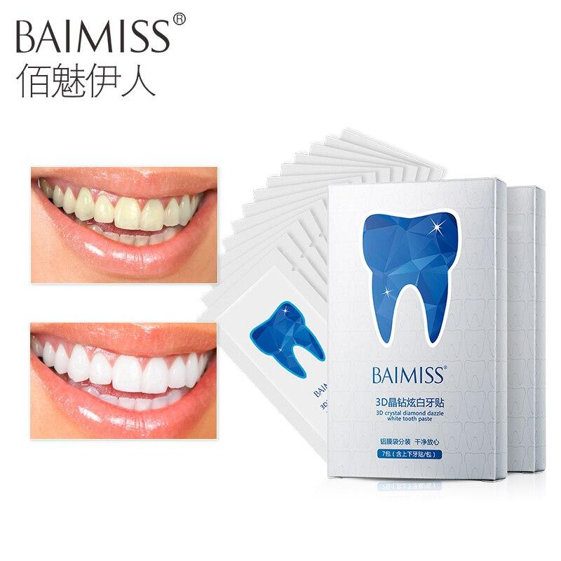 Baimiss 3D белый гель Отбеливание зубов полоски Гигиена полости рта Средства ухода за мотоциклом зубов полоски отбеливающий отбеливание зубов инструмент 14 шт./7 пара