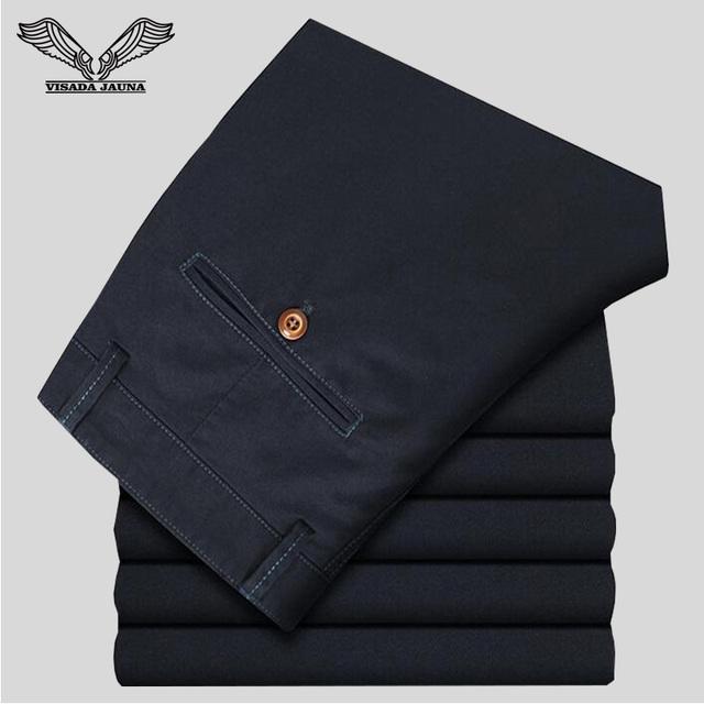 Pantalones Largos de Estilo de Negocios de los hombres Slim Fit Algodón de La Manera Recta de Ocio 2017 Nuevas Llegadas Mens Pantalones Largos N1080