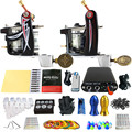 Solong Tattoo 2 Handmade Machine GunsTattoo Kits Power Supply Foot Pedal 20 Needles Grip Tip Ink Cup Taty Set TK201-10