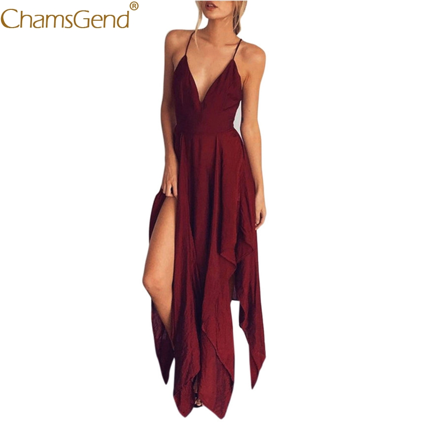 Chamsgend  Sexy V Neck Strappy Eveing Party Dress Women Wine Red Backless Long Chiffon Beach Dress 80417