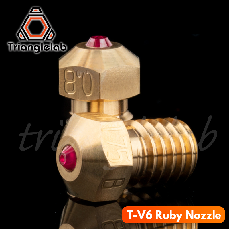 trianglelab high temperature T-V6 Ruby Nozzle 1 75MM for E3D V6 HOTEND Compatible with PETG ABS PEI PEEK NYLON etc  ruby nozzle