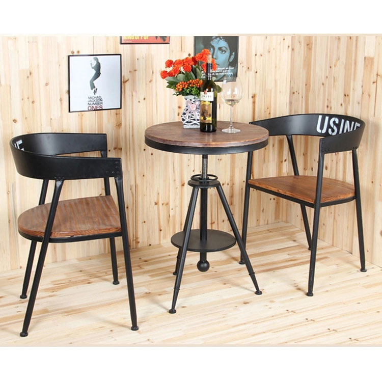 Creative Fashion Round Tea Table Wood Outdoor Casual Cafe Tea Shop Wrought Iron Coffee Tables