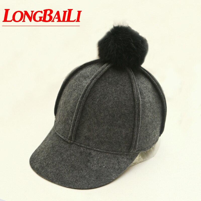 Hiver femmes laine feutre casquettes de Baseball avec réel lapin boule de fourrure chevalier casquettes femme livraison gratuite PWSX002