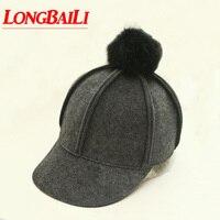 Winter Women Wool Felt Baseball Caps With Real Rabbit Fur Ball Knight Caps Female Free Shipping PWSX002