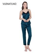 VLENATLNO Pyjamas women Pajamas Set Top Long Pant Faux Silk Lace Bow V neck Sleepwear Lace Lingerie Sleeveless Women Lingerie