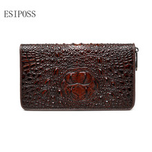 Crocodile Pattern Men clutch Wallet genuine leather Note Compartment Card Holder wallet male mobile phone wallet zipper Purse(China)