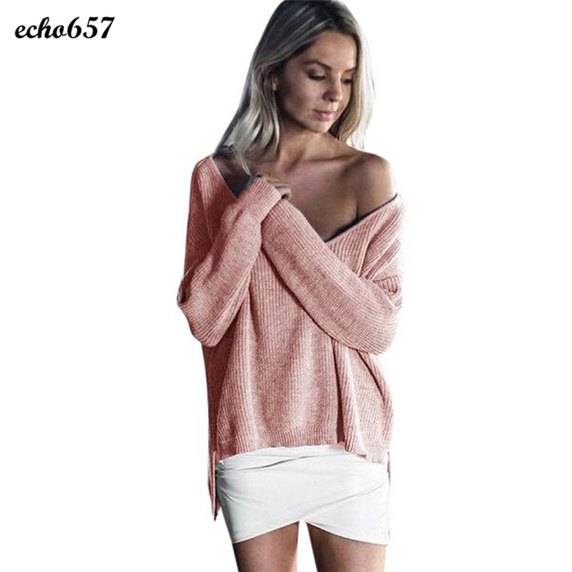 Hot Sale Women Fashion Sweaters Echo657 New Designer Womens Off Shoulder Long Sleeve Loose Knitted Sweater Casual Top Jan 3