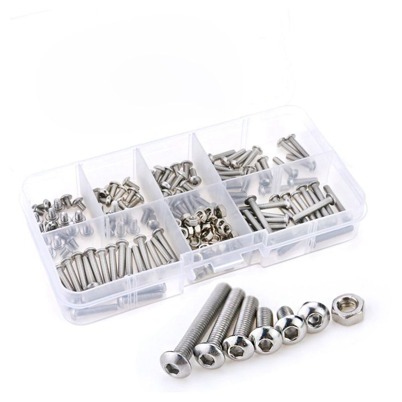 230Pcs M3 Stainless Steel Hex Hex Drive Button Head Socket Cap Bolts Screws Nuts Assortment Kit (M3) 105pcs set metric m3 screws and bolts hex steel kit hex m3 screw nuts carbon black box free shipping