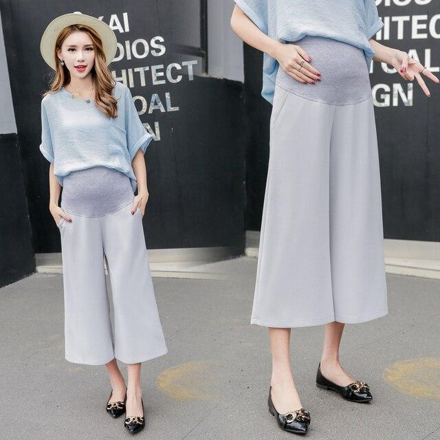 651b39aa9 Ropa de maternidad Pantalones de pierna ancha para las mujeres embarazadas  cintura alta embarazo ropa maternidad