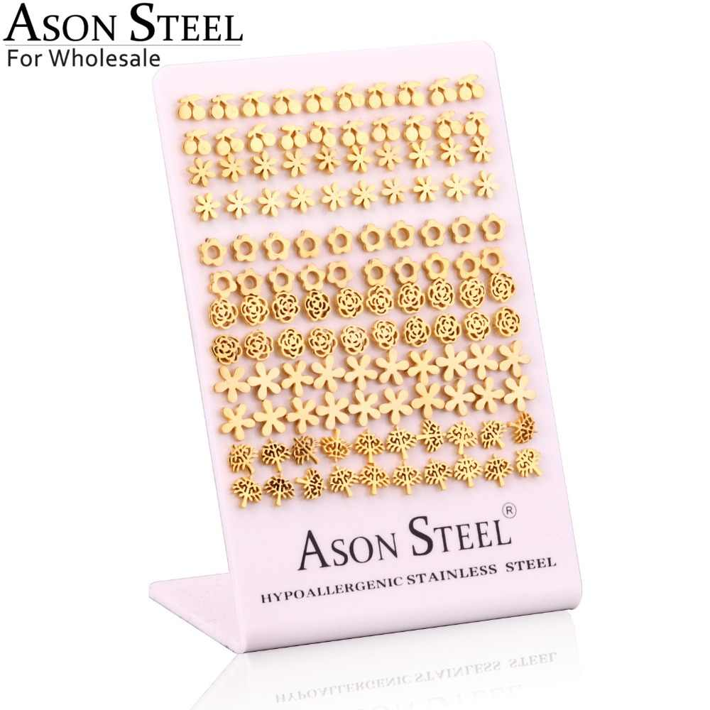ASONSTEEL Wholesale Stainless Steel Women Stud Earrings for Lady Gift,Different Shape Stud Jewelry Earrings 60Pairs/Lot