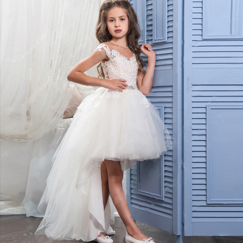 New White Lace Flower Girls Dresses Crew Neck High Low Short Sleeve Backless Girls Pageant Dress First Communion Gown Custom cute short sleeve round neck ruffled balll gown dress for girls