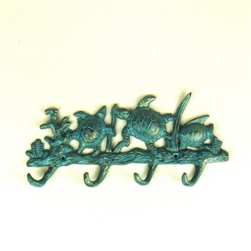 Fonderie fer mer tortue mur crochet ornemental métal corail et poisson porte crochet Aquarium décoration artisanat Gadget accessoires