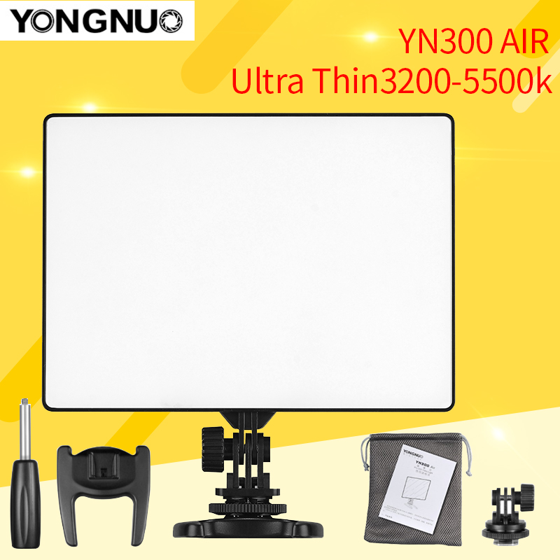 YONGNUO YN300 Air 3200-5500K Ultra Thin On Camera Led Video Light Pad Panel for Canon Nikon Sony Fuji Camera DSLR & Camcorder