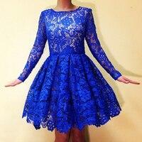 Lace Homecoming Dresses 2016 Royal Blue 8th Grade Juniors Graduation Dresses Plus Size Long Sleeve Homecoming