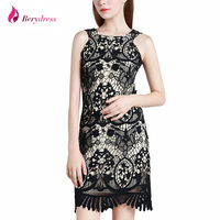 Berydress Elegant Women Wedding Party O Neck Sleeveless Zipper Back Hollow Out Sheath Bodycon Lace Dress