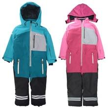 Childrens Siamese Ski Suit Outdoor Jacket Cotton Waterproof and Windproof Thicken Warm Boys Girls