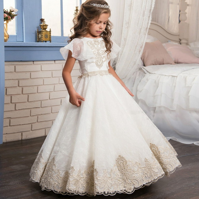 2017 New Fashion Lace Appliques Short Sleeves Ball Gown Flower Girl ...