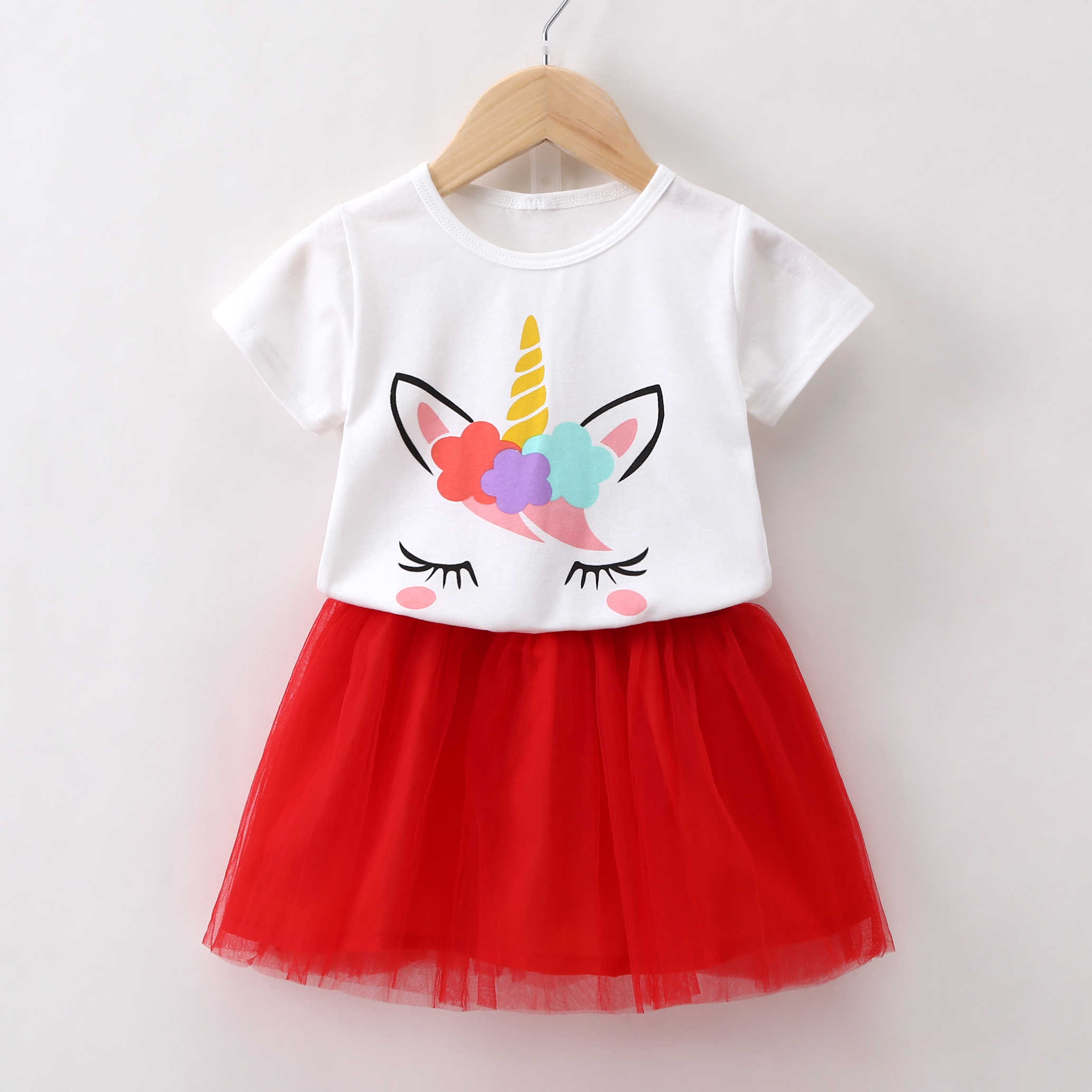 Baby Girl Cartoon Unicorn T-Shirt 1 2 3 4 5 6 Year Girls Summer Top Cotton Tees Kid Short Sleeved White Tshirt Children Clothing