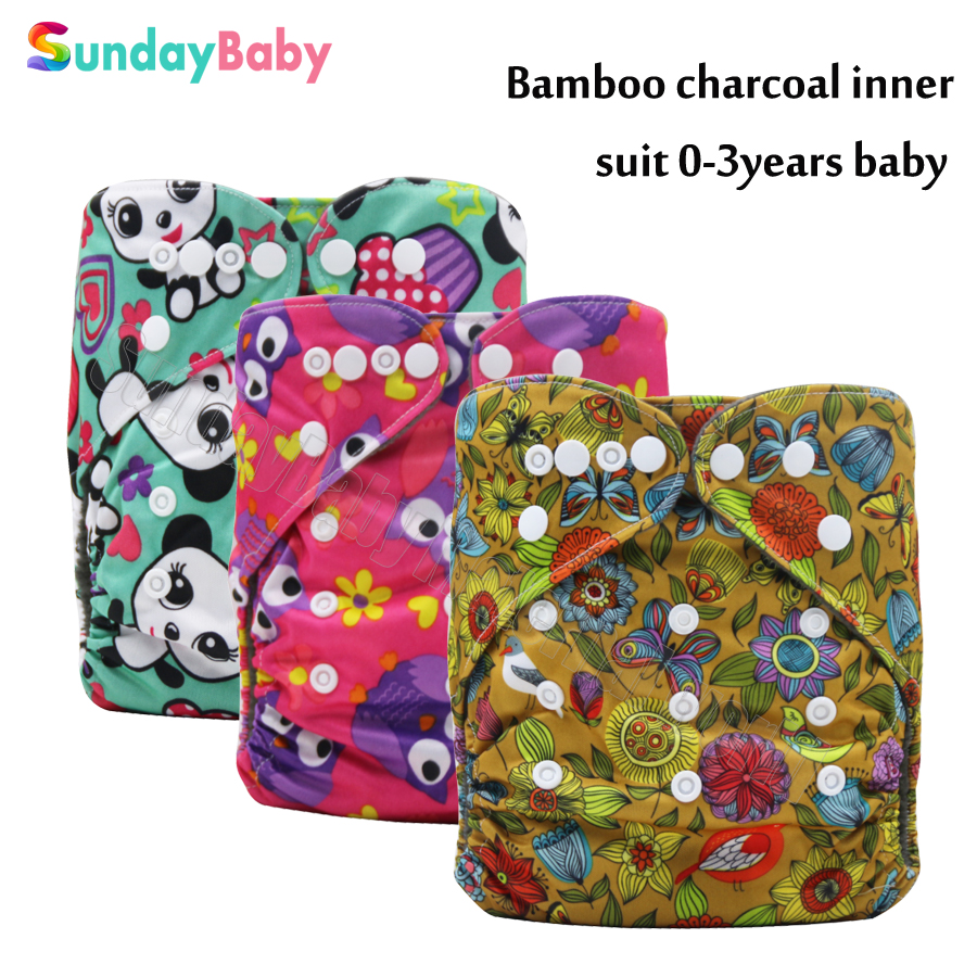 Baby Cloth Diaper reusable and washable pocket bamboo diaper for baby Ecological diaper suit 0 3