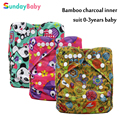 Baby Cloth Diaper reusable and washable pocket bamboo diaper for baby Ecological diaper suit 0-3 years