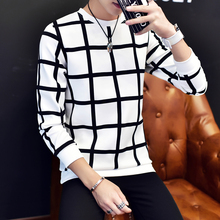 Men's Hoodies 2016 Autumn new men's casual fashion plaid Hoodies plus size code M-5XL  black and white colors