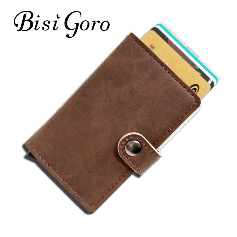BISI GORO 2018 Men And Women Credit Card Holder Single Box Pu Leather Vintage Mini Safe Aluminum Antimagnetic Purse Card Case