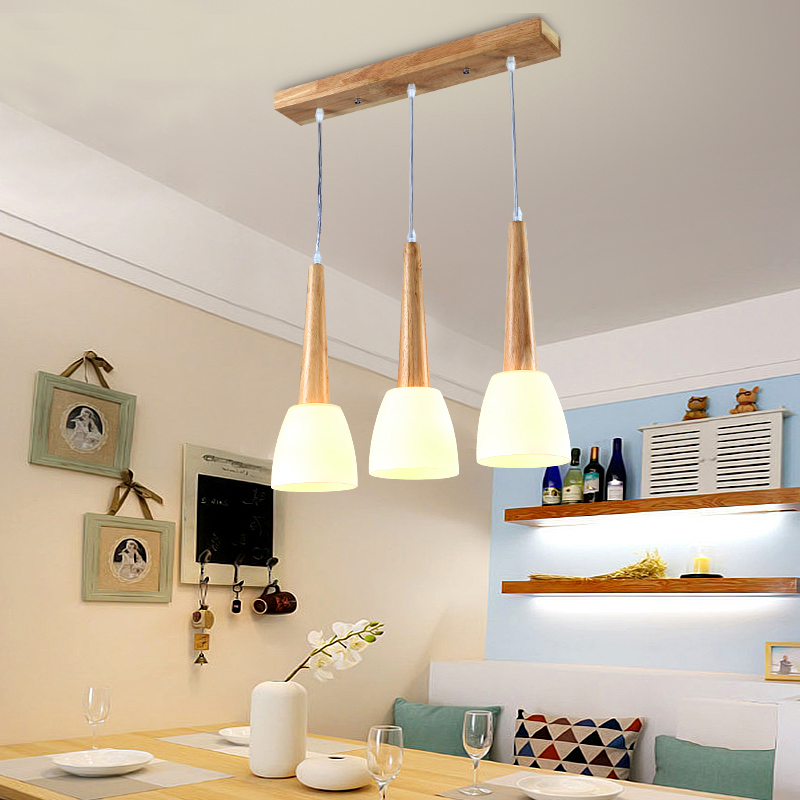 ФОТО Modern minimalist led solid wood dining pendant Garden Restaurant wooden lamp creative personality three head lamp