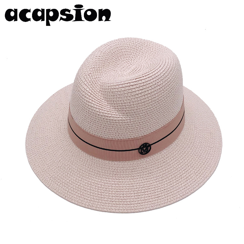 Summer Hats For Women Beach Straw Hat Pink Wide Brim White Sun Hat Flodable Straw Jazz Cap Bonnet sombrero panama mujer A060