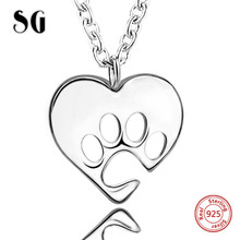 SG 100% 925 sterling silver love heart dog footprint chain necklace pendant fashion jewelry making for women gifts