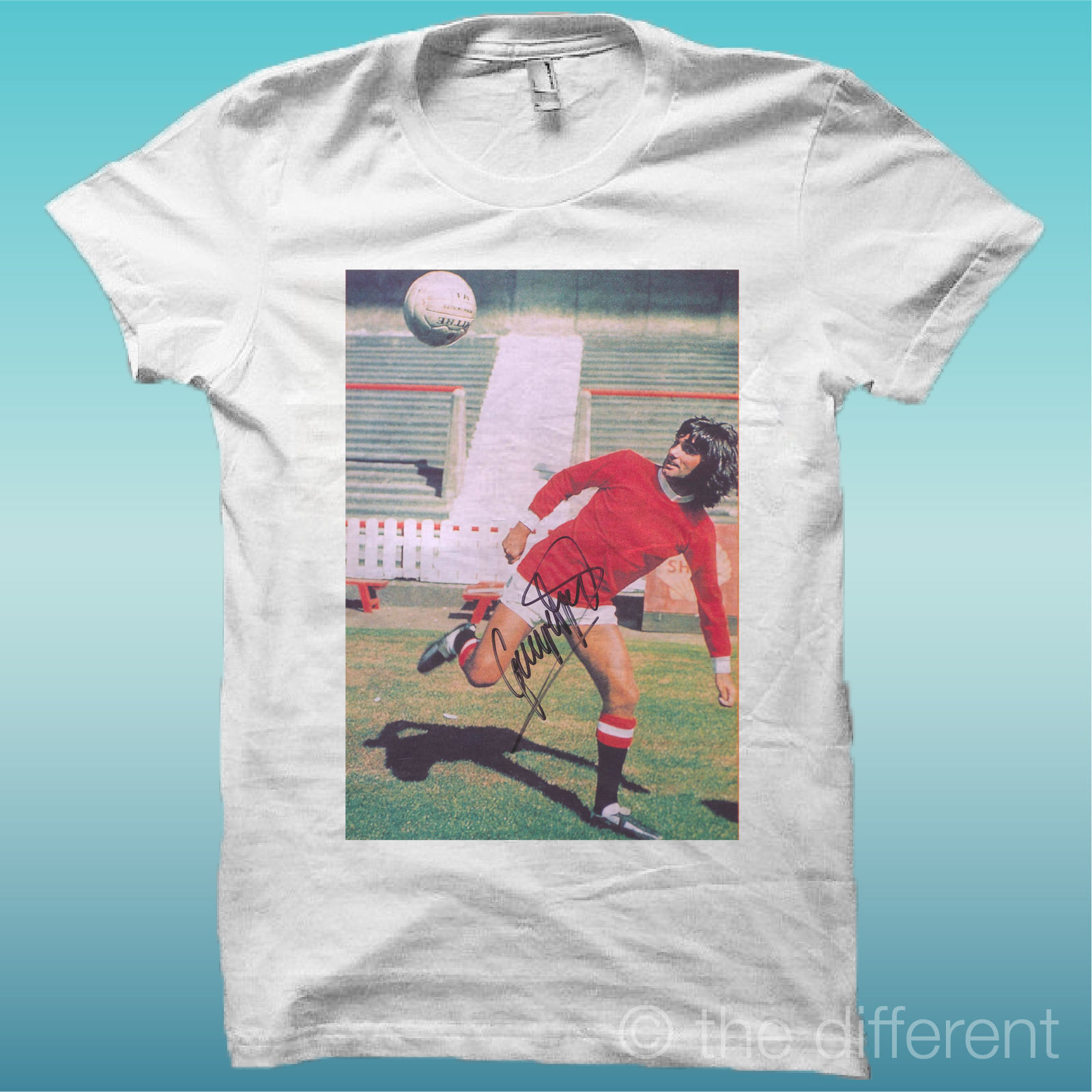 T-SHIRT MEN'S PICTURE GEORGE BEST WITH SIGNATURE GIFT IDEA ROAD TO LUCK image