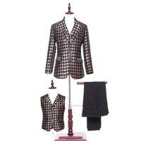 Autumn Winter Mens Classic Suits 3 Piece Groom Tuxedo Gold Pladi Fabric Mens Suits Wedding Groom