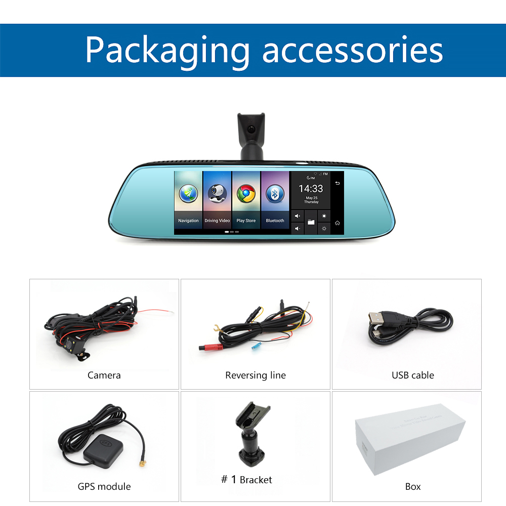 """Junsun 8"""" 4G Newest Mirror Car DVR Camera Android 5.1 with GPS DVRs Automobile Video Recorder Rearview Mirror Camera Dash Cam 53"""
