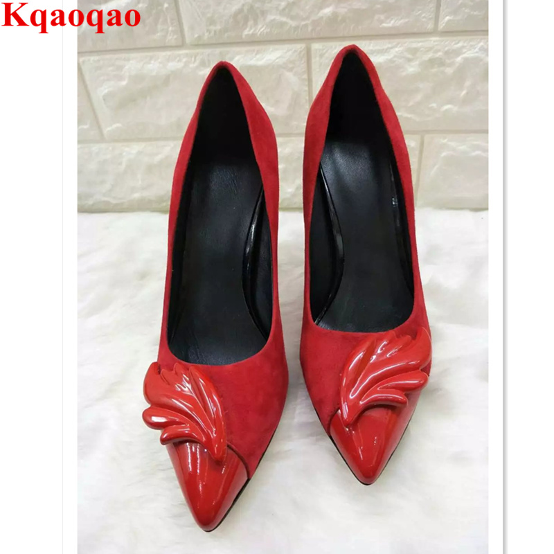 Luxury Brand Pointed Toe Flame Leaves Decor Women Pumps High Thin Heel Sexy  Shoes Super Star Runway Stage Wedding Shoes Stiletto-in Women s Pumps from  Shoes ... 21b12ddd5e63